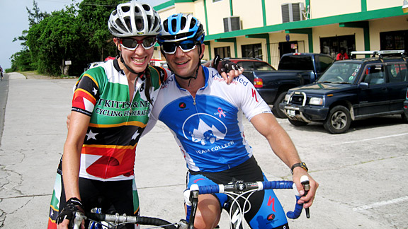 Kathryn Bertine repeats as three-time female national champion of St. Kitts and Nevis in the time trial and road race. Her husband, George Varhola, won the men's road race. Whether or not she let him win remains to be determined.
