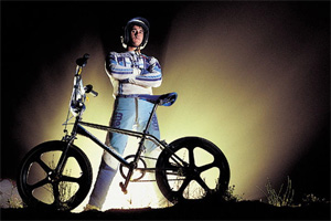 Bob Haro at the height of his career in the early '80s. This silhouette of this image was used in his turntable design.