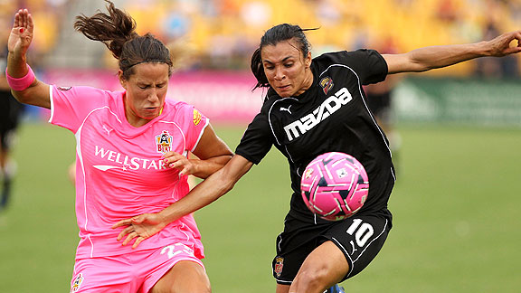 Marta, right, and Western New York are tied for first with Philadelphia and have two games remaining.