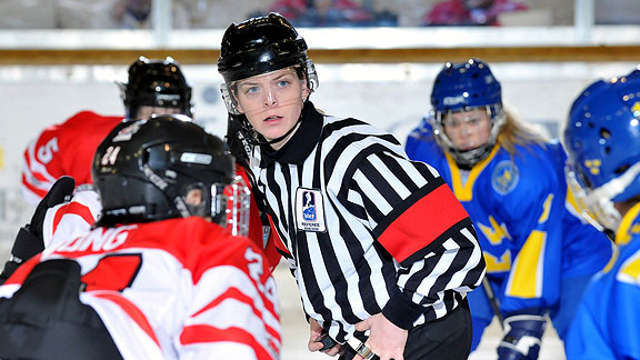 Erin Blair is in her 11th season as a hockey official.