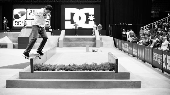 Mikey Taylor locks into a switch feeble grind during Street League competition.