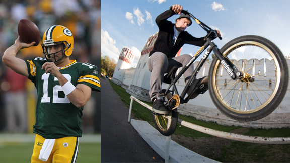 Green Bay Packers quarterback Aaron Rodgers (left) was spotted wearing Brian Kachinsky's signature etnies shoe on Tuesday.