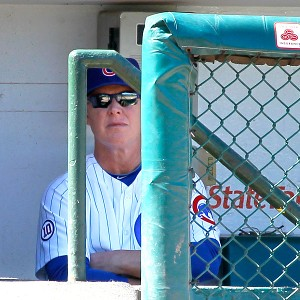 Chicago Cubs manager Mike Quade watches his batter during the first...