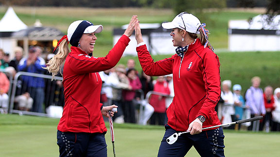 Morgan Pressel, left, and Paula Creamer made birdies on their last two holes for a much-needed win.