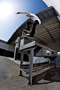 Scott Decenzo takes a nosebluntslide off the dock and onto this box.