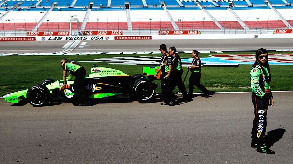 Danica Patrick watches practice at the Las Vegas Motor Speedway, where she will start ninth in the Izod IndyCar World Championships on Sunday.