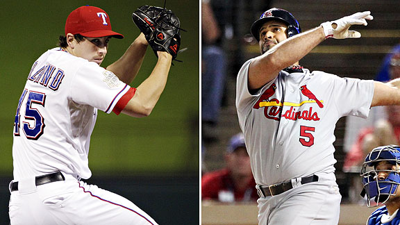 Albert Pujols, right, and Derek Holland have added to the excitement of this year's World Series.