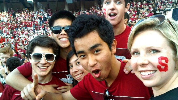 Rachael Flatt, with friends at a Stanford football game, has made time for fun at college.