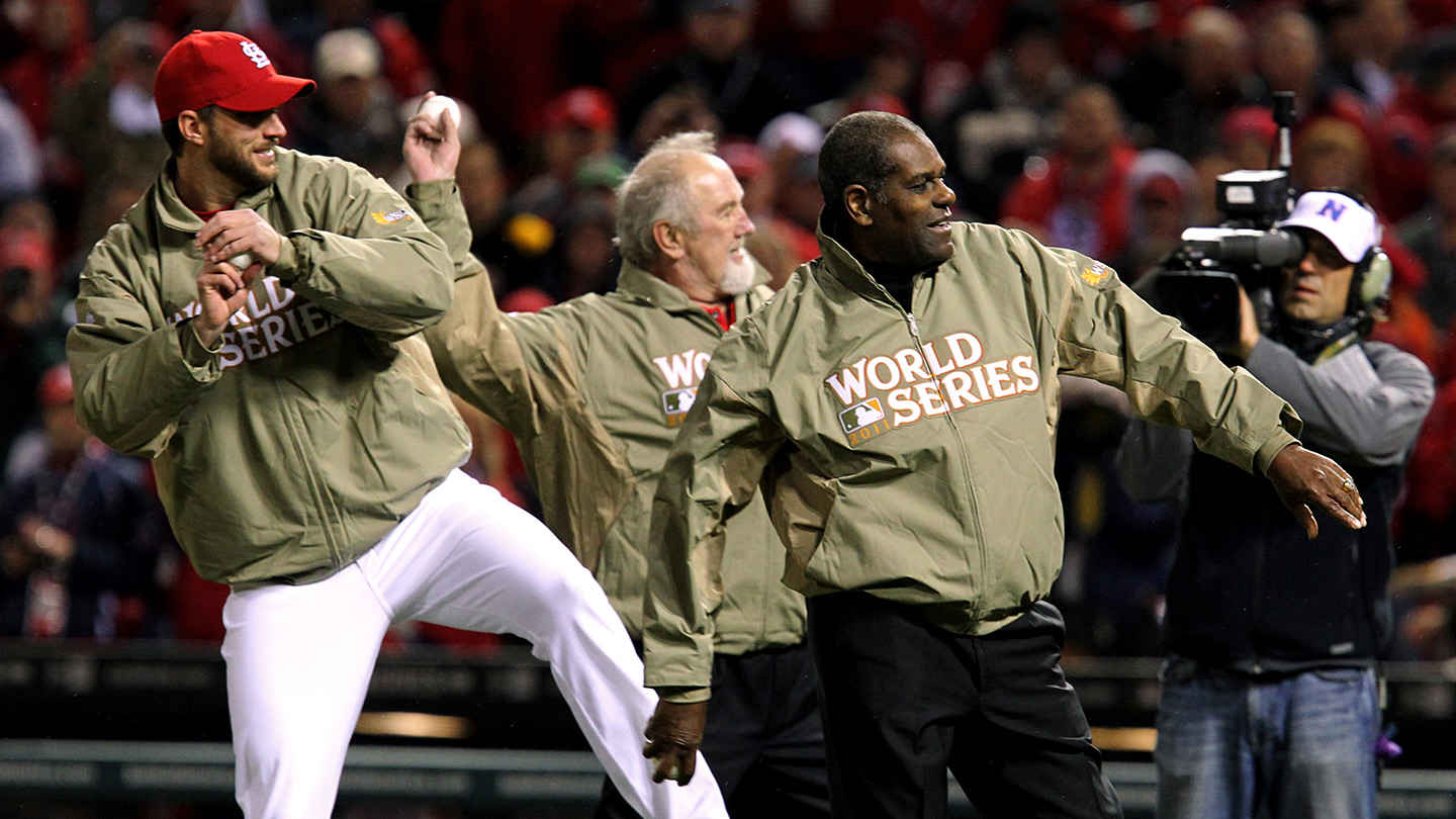Adam Wainwright, Bruce Sutter and Bob Gibson