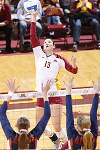 Sophomore outside hitter Ashley Wittman says practices have been more intense under Laura Bush.