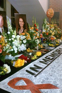 View of  the memorial for Oklahoma State University women's basketball coach Kurt Budke and assistant coach Miranda Serna at Gallagher-Iba Arena.