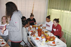 The team found time for a home-cooked Thanksgiving meal in between morning practice and an evening film session.