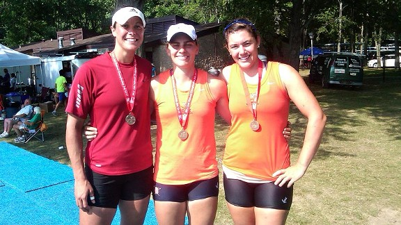 Meghan O'Leary pictured here, left, with Canley Championship Quad teammates Cara Linnenkoh and Carli Goldberg, has always been a jock, but when she picked up an oar, she found her true passion.