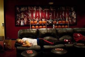 During finals week, you catch sleep wherever and whenever you can. Mikaela Ruef is one player who avoids all-night studying, but she still found the leather couches at Maples Pavilion a perfect spot for a nap.