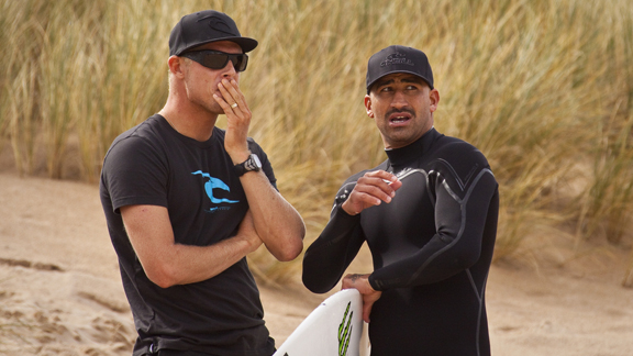 Bobby Martinez talking things over with pal Mick Fanning while still on tour.