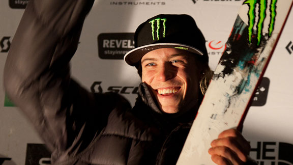 Kye Petersen on the podium of the FWT contest at Revelstoke last week.