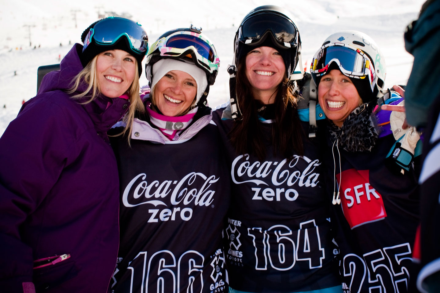Burke with fellow Winter X Games competitors, from left, Jess Reedy, Keri Herman and Anna Segal.
