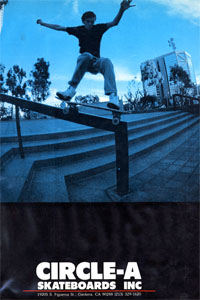 It might not say his name, but this is Ed Templeton's first magazine ad for Circle A.