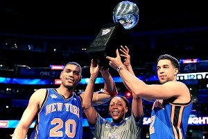 Team New York -- Allan Houston, Cappie Pondexter and Landry Fields -- took home the Shooting Stars trophy.