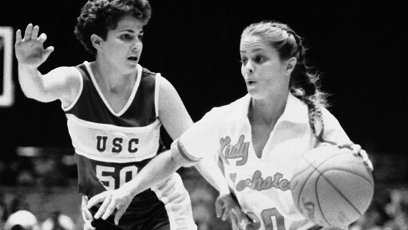 Kim Mulkey played for Louisiana Tech from 1980 to 1984, winning the first NCAA title in 1982.