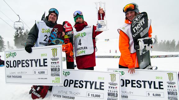 The men's slopestyle podium.