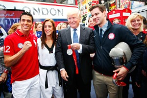 You're fired? Not these U.S. Olympic hopefuls. Donald Trump showed his support for American athletes Steven Lopez, Diana Lopez and Tim Morehouse on Wednesday in Times Square.