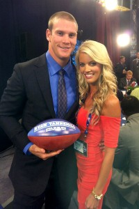Texas A&M quarterback Ryan Tannehill and his wife, Lauren, who were married in January, dealt with the suspense together until he was selected by the Dolphins with the eighth pick.