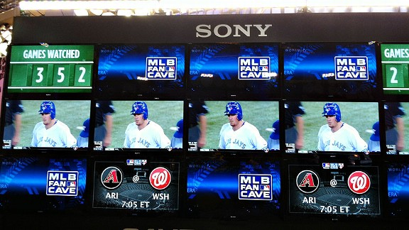 Sensory overload?! No, just 15 big screens of baseball heaven. Feast your eyes on the Fan Cave Monster.