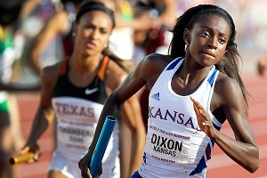 Diamond Dixon, who runs the 400, hopes to become the first Jayhawks women's outdoor champion.