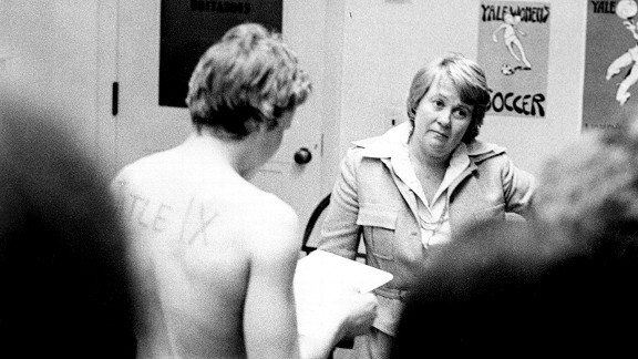 March 3, 1976: Joni Barnett, Yale's Director of Physical Education, listens as Chris Ernst reads the team's grievance.