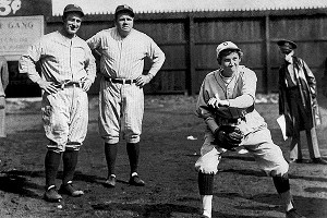 After Jackie Mitchell (right foreground) struck out Lou Gehrig and Babe Ruth in a 1931 exhibition game, baseball commissioner Kenesaw Mountain Landis voided her contract with the Chattanooga Lookouts.