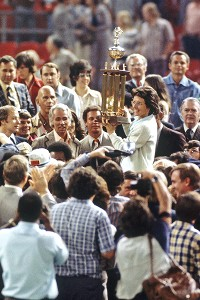 An estimated 90 million TV viewers watched Billie Jean King easily defeat Bobby Riggs in their hyped-to-the-max tennis match inside the Astrodome.