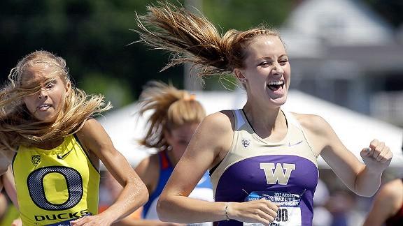 Washington's Katie Flood, right, captured the 1,500-meter run Saturday, finishing ahead of Oregon's Jordan Hasay.