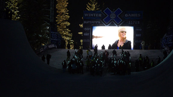 A memorial for Sarah Burke at Winter X Games Aspen.