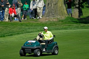 Casey Martin drives his cart up to the fifth green at The Olympic Club during Friday's second round.