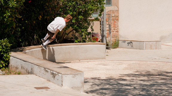 Anthony Van Engelen - feeble grind, Cyprus. The heat was nearly unbearable in Cyprus on this day but that didn't stop A.V.E. from feeble grinding through to corner at mach speed.