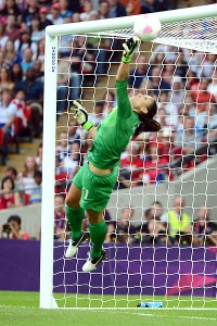 Hope Solo tipped a shot from Japan up and into the crossbar during a huge first-half save.