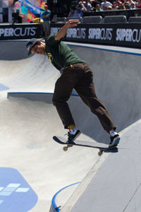 Tom Remillard, seen here in Skate Park X Games LA 2012, was once sponsored by a beer brand.