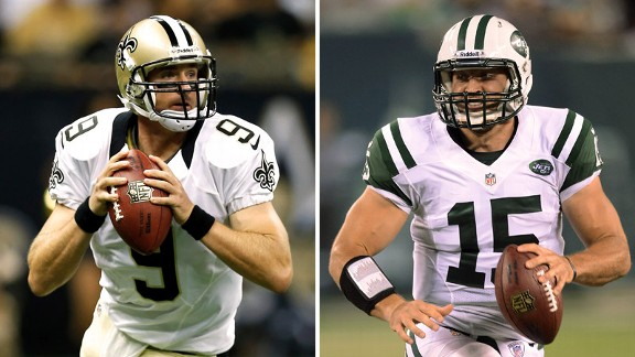 QBs Drew Brees (New Orleans) and Tim Tebow (Jets) face different challenges this season.