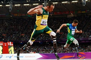 Oscar Pistorius, pictured in the 2012 Paralympic Games, made history when, on carbon fiber blades, he competed in the 400 meters and on South Africa's 4x400 relay team at the London Olympics.