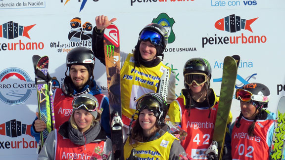 The men's and women's podiums at the first Olympic slopestyle qualifier.