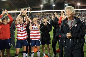 Pia Sundhage had a 91-6-10 record with the U.S. women's national team since joining the program in November 2007.