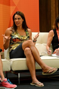 Softball star Jessica Mezdoza chats on espnW Summit couch.