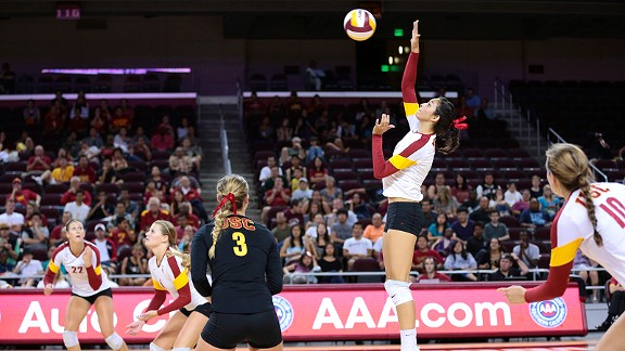 Samantha Bricio became the first USC freshman since 2000 to earn AVCA player of the week honors after her 46-kill, 27-dig weekend in wins over Arizona and Arizona State.