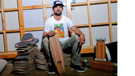 George Rocha skates'em, breaks'em and remakes'em for Iris Skateboards.