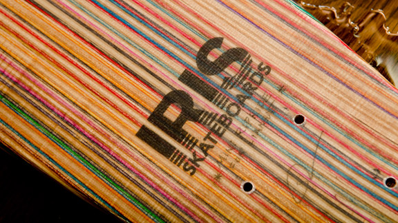 Broken skateboards are recycled into Iris decks.