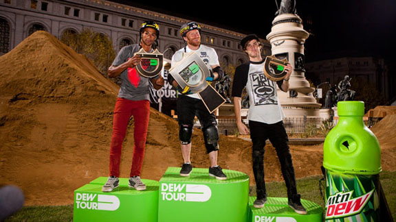 BMX dirt podium from left to right: T.J. Ellis, Ryan Nyquist and Colton Satterfield.