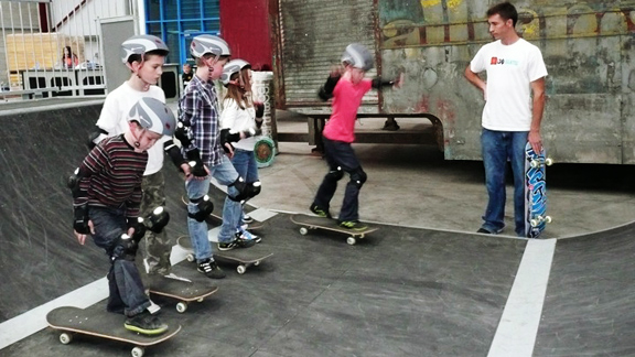 Rob Dunfey with skate students in Donagh, Ireland.