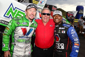 Jack Beckman, left, and Antron Brown, right, have given Don Schumacher plenty to smile about this season.