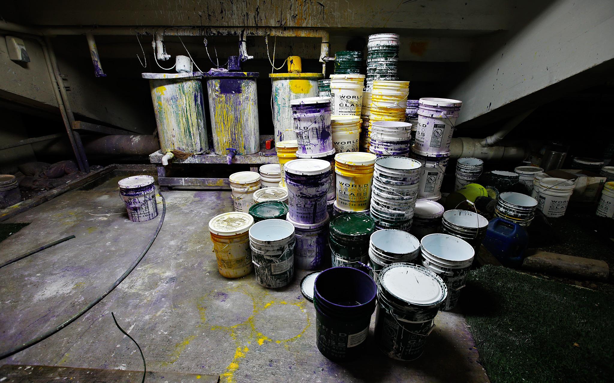 Buckets of field paint under Tiger Stadium